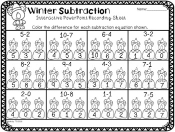 WInter Subtraction Interactive Power Point