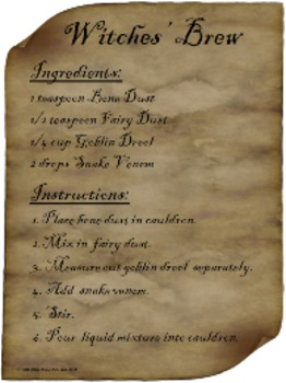 Witches' Brew -- Halloween magic recipe & labels (baking soda & vinegar)