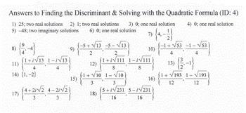 WK ***  Discriminant, Number & Type of Roots, & Quadratic Formula