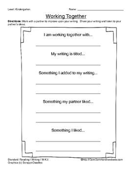 W.K.5 Kindergarten Common Core Worksheets, Activity, and Poster