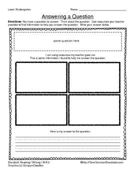 W.K.8 Kindergarten Common Core Worksheets, Activity, and Poster