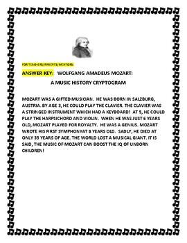WOLFGANG AMADEUS MOZART: A MUSIC HISTORY CRYPTOGRAM
