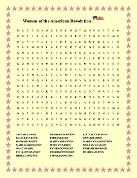 WOMEN OF THE AMERICAN REVOLUTION WORD SEARCH