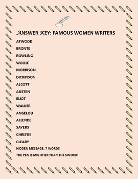 WOMEN'S HISTORY MONTH: FAMOUS WOMEN WRITERS: A JUMBLE ACTIVITY