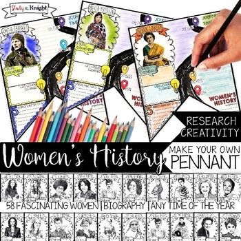 WOMEN'S HISTORY MONTH, BIOGRAPHY RESEARCH, PENNANT, MAKE YOUR OWN BANNER
