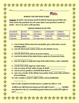 WOMEN'S HISTORY MONTH QUIZ/ WITH ANSWER SHEET