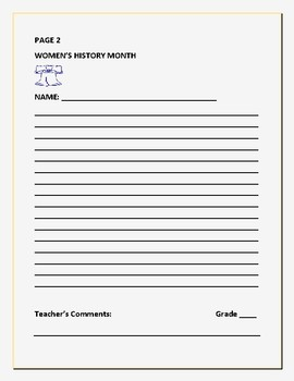 WOMEN'S HISTORY MONTH WRITING PROMPT &  FREE ACROSTIC ACTIVITY