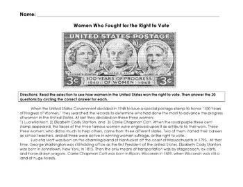 History WOMEN FOR RIGHT TO VOTE Reading Info w/ 20 Multiple Choice Questions