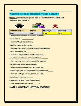 WOMENS' HISTORY MONTH RHYMING ACTIVITY