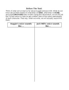 AUGUST & JACK INFERENCING READING WRITING ACTIVITY, WONDER NOVEL STUDY