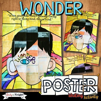 Wonder by R J  Palacio Novel Study Writing Activity, Poster