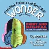 WONDER by RJ Palacio - Novel Study and 3-D Book Report Activity