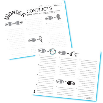 WONDER Palacio R.J. Novel Conflict Graphic Organizer - 6 Types of Conflict