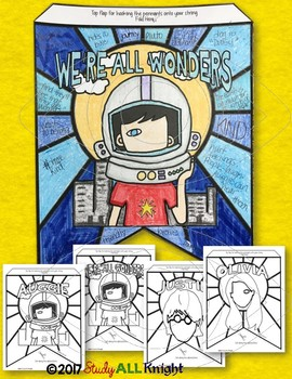 WONDER NOVEL CHARACTER STUDY, CHARACTERIZATION, PENNANT, MAKE YOUR OWN BANNER