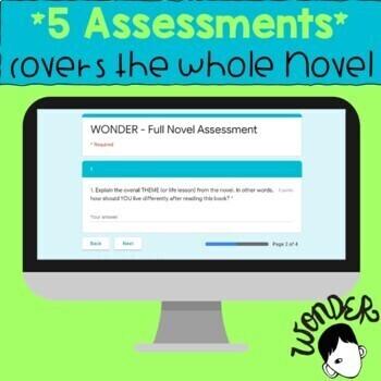 WONDER Novel Assessment Bundle! - 4 Google Forms Quizzes/Tests - *EDITABLE*