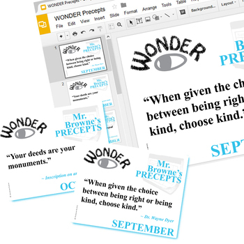 WONDER Mr. Browne's 10 Precepts Posters (Created for Digital) Palacio Novel
