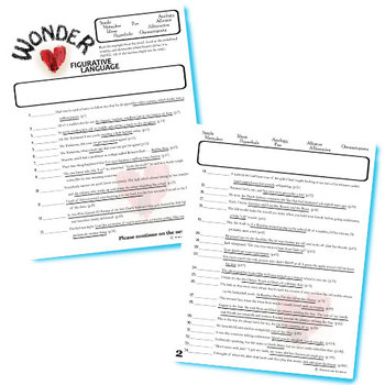 WONDER Palacio R.J. Novel Figurative Language Bundle