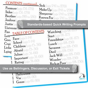 WONDER Palacio R.J. Novel Journal - Quickwrite Writing Prompts - PowerPoint