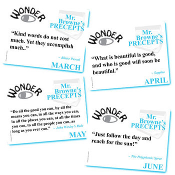 WONDER Palacio R.J. Novel Mr. Browne's Precepts (10 Class Posters)