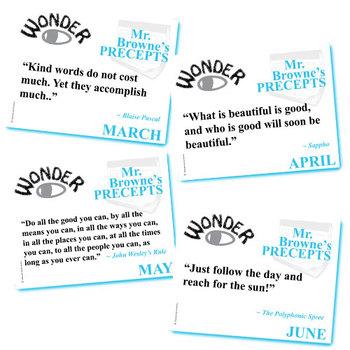WONDER Palacio R.J. Novel Mr. Browne's Precepts (10 Class Posters)
