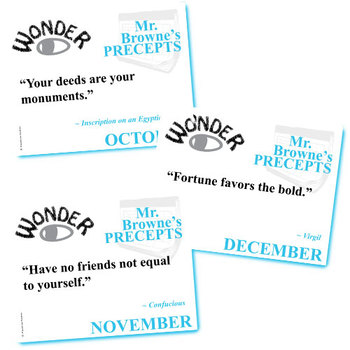 WONDER Mr. Browne's Precepts (10 Class Posters) - Palacio R.J. Novel