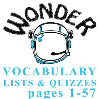 WONDER Palacio R.J. Novel Vocabulary List and Quiz (15 words, pgs 1-57)