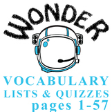 WONDER Vocabulary List and Quiz (15 words, pgs 1-57) Palacio R.J.