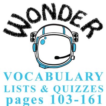 WONDER Palacio R.J. Novel Vocabulary List and Quiz (15 words, pgs 103-161)