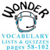 WONDER Palacio R.J. Novel Vocabulary List and Quiz (15 wor