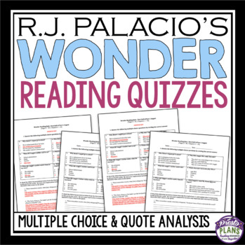 WONDER BY R. J. PALACIO READING COMPREHENSION QUIZZES
