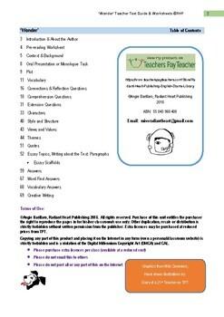 WONDER Teacher Text Guide & Worksheets - R.J.Palacio's book HIGH SCHOOL
