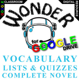 WONDER Vocabulary List and Quiz Assessment (Created for Digital)