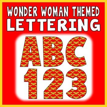 WONDER WOMAN THEMED LETTERS & NUMBERS - DISPLAY ALPHABET SUPERHEROES