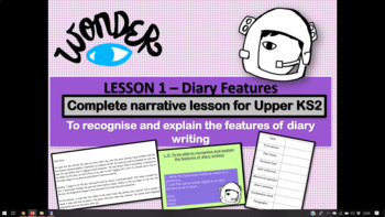 WONDER by RJ Palacio FIRST PERSON NARRATIVE SOW   IDENTIFYING FEATURES  (Lesson 2