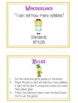 WONDERLAND Syllables - ELA First Grade Folder Game - Word Work Center