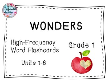 WONDERS 1st Grade High-Frequency Word Flashcards Units 1-6