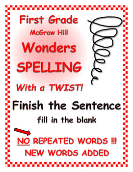"WONDERS 1st Grade SPELLING with extra words! No repeats ""Finish the Sentence"" Bl"