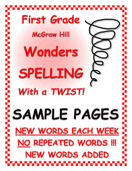 "WONDERS 1st Grade SPELLING with extra words! No repeats ""SAMPLE PAGES"""