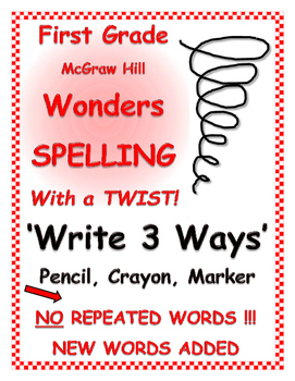 """WONDERS 1st Grade SPELLING with extra words! No repeats """"Write 3 Ways"""""""