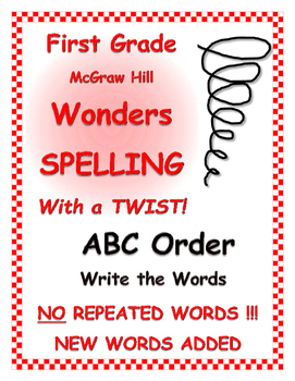 """WONDERS 1st Grade SPELLING with extra words! No words repeated """"ABC Order Write"""""""