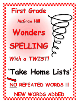 """WONDERS 1st Grade SPELLING with extra words! No words repeated """"Take Home List"""""""