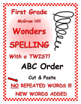 WONDERS 1st Grade SPELLING with extra words! No words repeated! ABC Order Cut/Pa