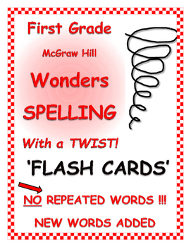 """WONDERS 1st Grade SPELLING with extra words! No words repeated! """"Flash Cards"""""""