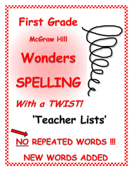 WONDERS 1st Grade SPELLING with extra words! No words are repeated!
