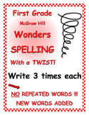 """WONDERS 1st Grade SPELLING with extra words! No words repeated! """"3 Time Each"""""""