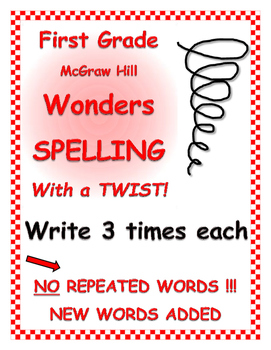 "WONDERS 1st Grade SPELLING with extra words! No words repeated! ""3 Time Each"""