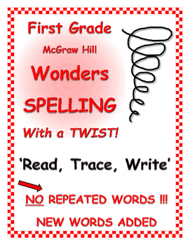 """WONDERS 1st Grade SPELLING with extra words! No words repeated!  """"Read Trace.. """""""