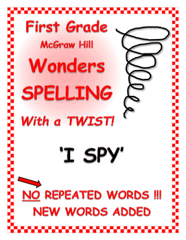 "WONDERS 1st Grade SPELLING with extra words! No words are repeated!  ""I SPY"""