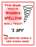 """WONDERS 1st Grade SPELLING with extra words! No words are repeated!  """"I SPY"""""""