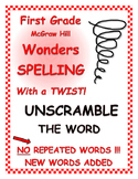 """WONDERS 1st Grade SPELLING with extra words! No words repeated! """"Unscramble"""""""